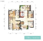 时代香海彼岸4室2厅2卫116平方米户型图