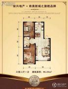 巴黎经典花园3室2厅1卫95--96平方米户型图