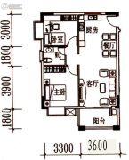 北岸晏城2室2厅1卫73平方米户型图