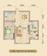 大林兴隆家园2室2厅1卫88平方米户型图