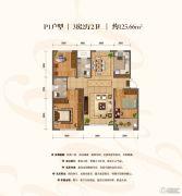 棠悦3室2厅2卫125平方米户型图