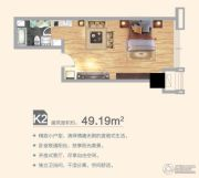 合肥万达文化旅游城1室1厅1卫49平方米户型图