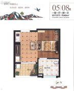 雁鸣湖畔1室1厅1卫46平方米户型图