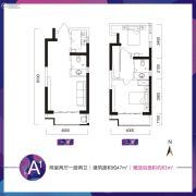 乔布斯公馆2期2室2厅2卫47平方米户型图