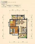 南景湾山水城2室2厅1卫77平方米户型图