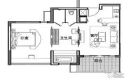 万科双月湾1室1厅1卫84平方米户型图