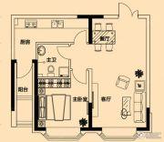 铂金首府1室1厅1卫65平方米户型图