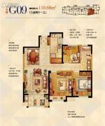 金科世界城3室2厅1卫110平方米户型图