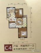 格林小镇2室2厅1卫67平方米户型图