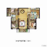 金地西沣公元3室2厅2卫121平方米户型图