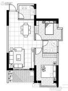 聚镇2室2厅1卫87平方米户型图