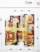 万科・金域国际3室2厅3卫140平方米户型图