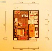 中铁丁香水岸1室2厅1卫42平方米户型图