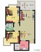 棕榈泉花园2室2厅1卫88平方米户型图