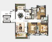 中山碧桂园天玺湾3室2厅2卫118平方米户型图