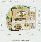 博鑫双湾国际2室2厅2卫73平方米户型图