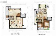绿城西子田园牧歌2室2厅1卫87平方米户型图