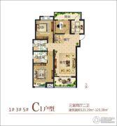 民安尚郡3室2厅1卫121--123平方米户型图