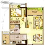 万科里享水韵1室2厅1卫54平方米户型图