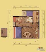 融创嘉德领馆2室2厅1卫47平方米户型图
