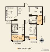 华天公馆2室2厅1卫87平方米户型图