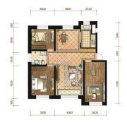 苏宁绿谷庄园3室2厅1卫110--114平方米户型图