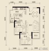 宝嘉花与山1室2厅1卫57平方米户型图