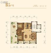 中交悦西溪3室2厅1卫105平方米户型图