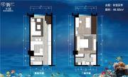 卉丰源花鸟古玩博览中心2室2厅2卫46平方米户型图