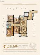 中梁御湖东岸4室2厅2卫120平方米户型图