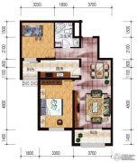 盛世尚水城2室2厅1卫90平方米户型图