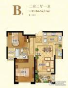 苏高新天城花园2室2厅1卫85--86平方米户型图