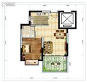 海南近海湾1室2厅1卫60平方米户型图