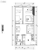 翰林尚品2室2厅1卫48平方米户型图