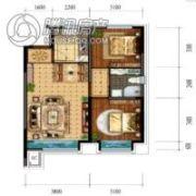 领秀蓝珀湖2室2厅1卫85平方米户型图