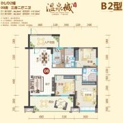 阳西温泉城3室2厅2卫117平方米户型图