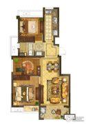 银城一方山3室2厅1卫72平方米户型图
