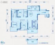 中惠国际金融中心3室2厅2卫137平方米户型图
