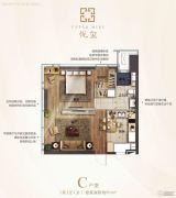 青岛华润中心悦玺1室1厅1卫81平方米户型图