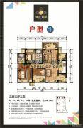 锦发君城3室2厅2卫104平方米户型图