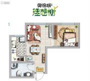 御锦城1室2厅1卫41平方米户型图