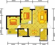 中天优诗美地2室2厅1卫95平方米户型图