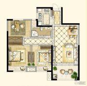 四季金辉3室2厅1卫89平方米户型图