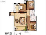 中南菩悦东望城3室2厅2卫121平方米户型图