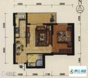 海韵国际城1室2厅1卫55平方米户型图