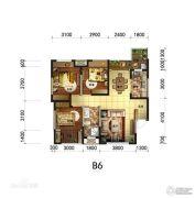临港中央3室2厅2卫90平方米户型图