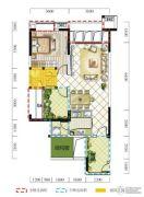 远达春天里2室2厅1卫74平方米户型图