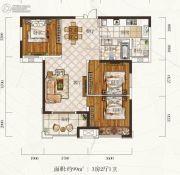 惠天然梅岭国际3室2厅1卫99平方米户型图