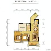 金江外滩3室2厅1卫89平方米户型图