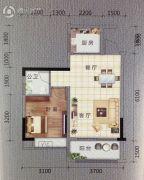 上雅君庭2室1厅1卫56平方米户型图